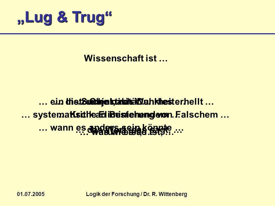 Lug & Trug 01.07.2005Logik der Forschung / Dr. R. Wittenberg Wissenschaft ist … … die Suche nach Wahrheit …… Objektivität …… ein Instrument, das Dunkl