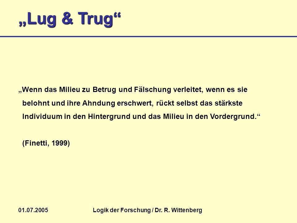 Lug & Trug 01.07.2005Logik der Forschung / Dr. R. Wittenberg Wenn das Milieu zu Betrug und Fälschung verleitet, wenn es sie belohnt und ihre Ahndung e