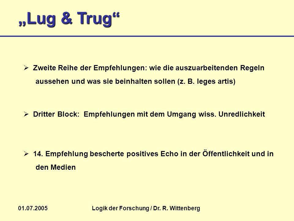 Lug & Trug 01.07.2005Logik der Forschung / Dr. R. Wittenberg 14. Empfehlung bescherte positives Echo in der Öffentlichkeit und in den Medien Zweite Re