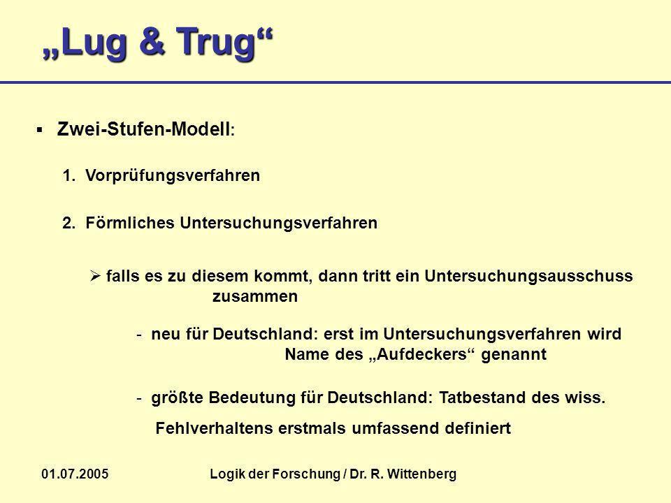 Lug & Trug 01.07.2005Logik der Forschung / Dr. R. Wittenberg - größte Bedeutung für Deutschland: Tatbestand des wiss. Fehlverhaltens erstmals umfassen