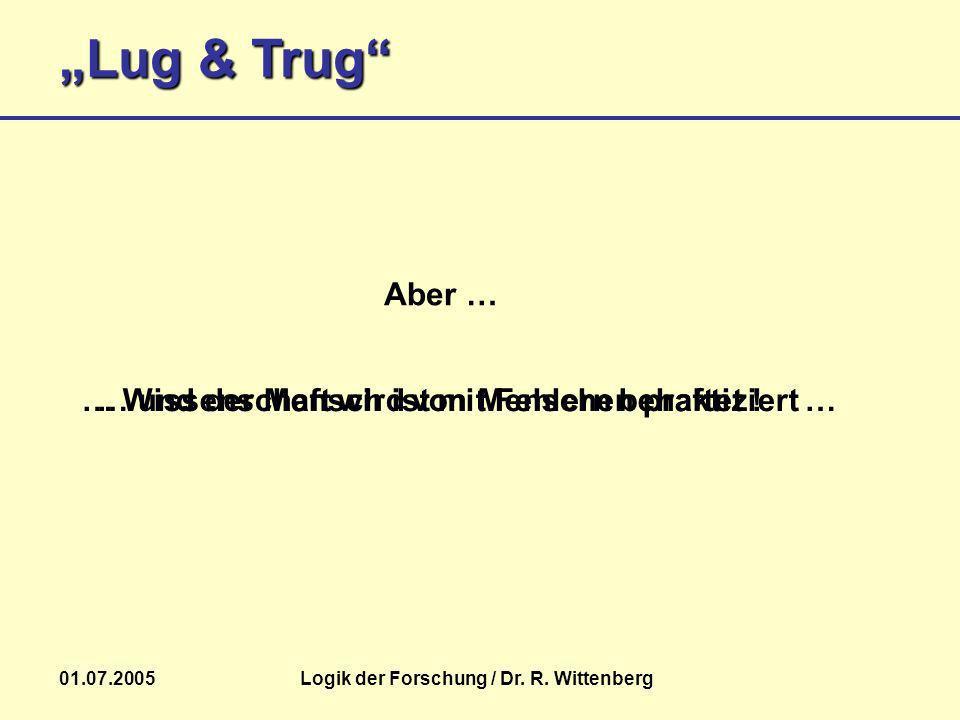 Lug & Trug 01.07.2005Logik der Forschung / Dr. R. Wittenberg Aber … … Wissenschaft wird von Menschen praktiziert …… und der Mensch ist mit Fehlern beh