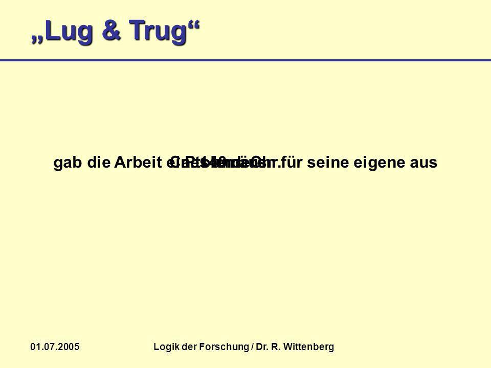 Lug & Trug 01.07.2005Logik der Forschung / Dr. R. Wittenberg Ptolemäusgab die Arbeit eines anderen für seine eigene ausCa. 140 n. Chr.