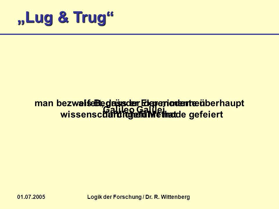 Lug & Trug 01.07.2005Logik der Forschung / Dr. R. Wittenberg Galileo Galilei als Begründer der modernen wissenschaftlichen Methode gefeiert man bezwei