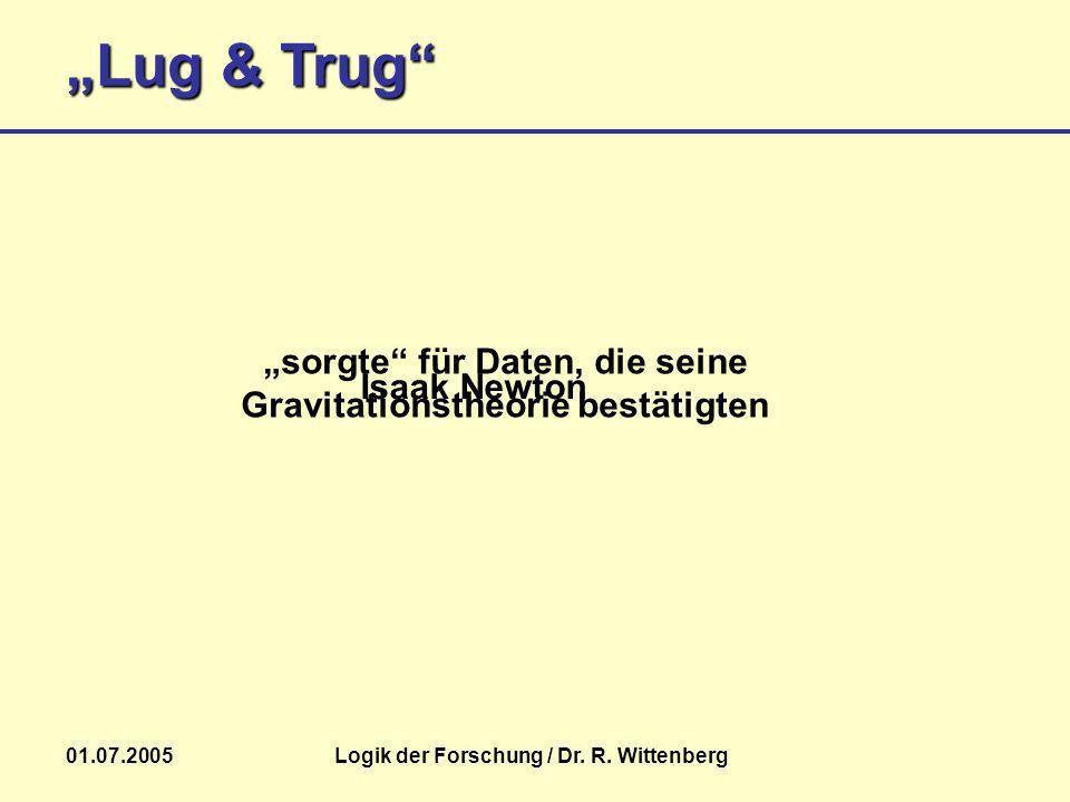 Lug & Trug 01.07.2005Logik der Forschung / Dr. R. Wittenberg Isaak Newton sorgte für Daten, die seine Gravitationstheorie bestätigten