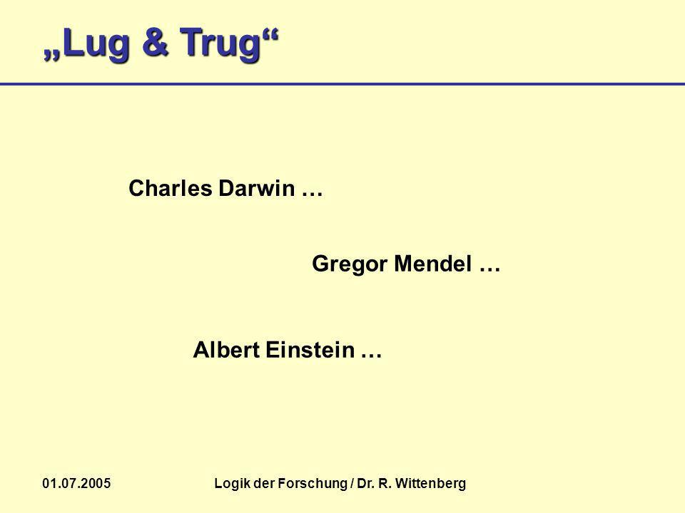 Lug & Trug 01.07.2005Logik der Forschung / Dr. R. Wittenberg Gregor Mendel … Charles Darwin … Albert Einstein …