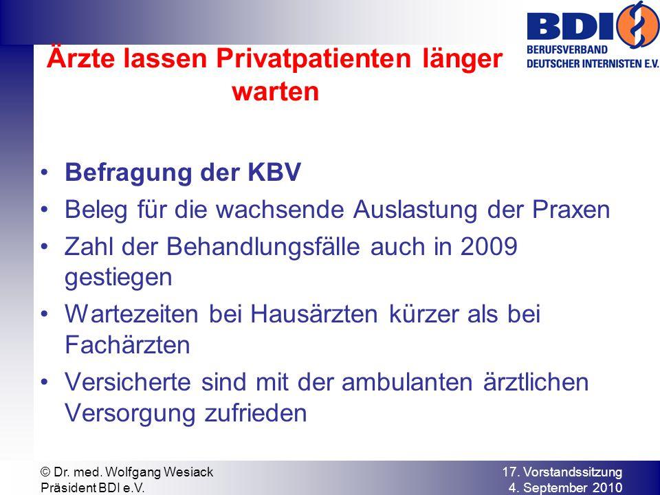 Ärzte lassen Privatpatienten länger warten Befragung der KBV Beleg für die wachsende Auslastung der Praxen Zahl der Behandlungsfälle auch in 2009 gestiegen Wartezeiten bei Hausärzten kürzer als bei Fachärzten Versicherte sind mit der ambulanten ärztlichen Versorgung zufrieden 17.
