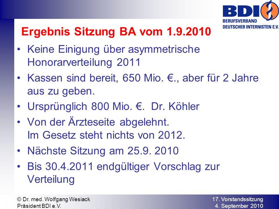 Ergebnis Sitzung BA vom 1.9.2010 Keine Einigung über asymmetrische Honorarverteilung 2011 Kassen sind bereit, 650 Mio.., aber für 2 Jahre aus zu geben.