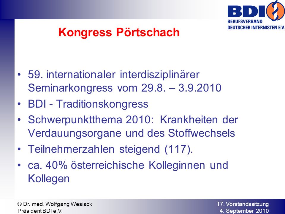 Kongress Pörtschach 59. internationaler interdisziplinärer Seminarkongress vom 29.8.
