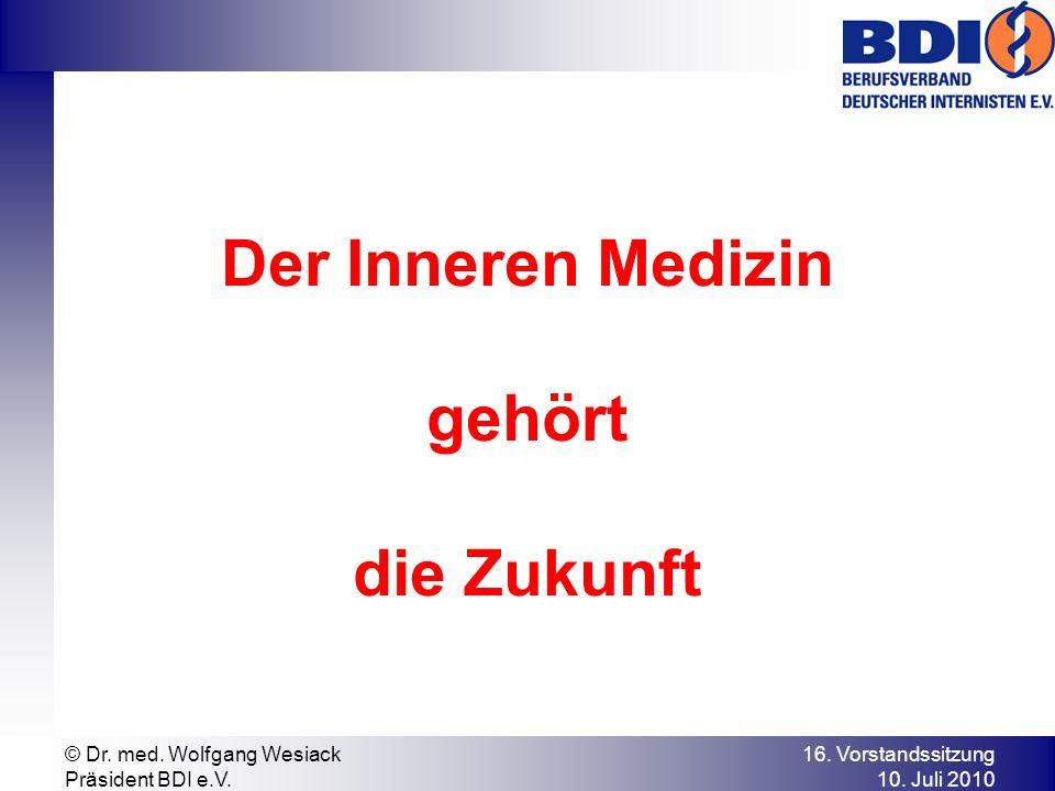 Der Inneren Medizin gehört die Zukunft 16. Vorstandssitzung 10.