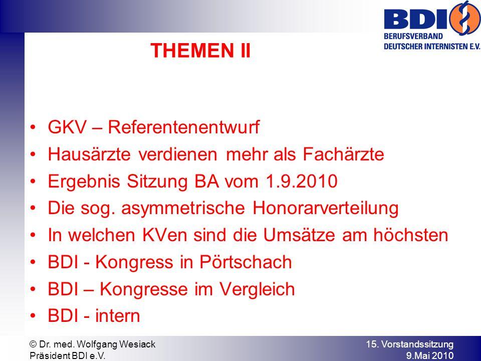 BDI - intern TK – Allianz am 16.7.2010 Treffen der BV bei der KBV am 23.7.2010 Treffen ZI-PP am 13.8.2010 Vorbereitung ÄK-Wahlen in Hamburg BDI – Kongress in Pörtschach Treffen GfB-UEMS am 1.9.2010 17.