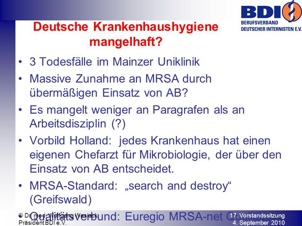 Deutsche Krankenhaushygiene mangelhaft.
