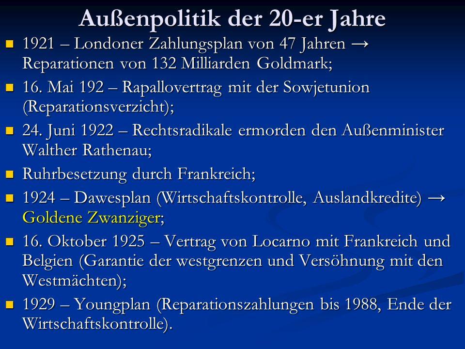 Außenpolitik der 20-er Jahre 1921 – Londoner Zahlungsplan von 47 Jahren Reparationen von 132 Milliarden Goldmark; 16. Mai 192 – Rapallovertrag mit der