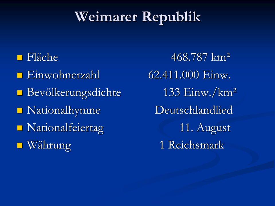 Weimarer Republik Fläche 468.787 km² Fläche 468.787 km² Einwohnerzahl 62.411.000 Einw. Einwohnerzahl 62.411.000 Einw. Bevölkerungsdichte 133 Einw./km²