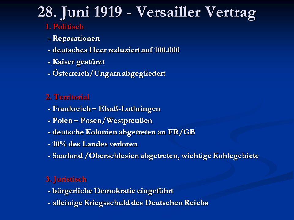 28. Juni 1919 - Versailler Vertrag 1. Politisch - Reparationen - Reparationen - deutsches Heer reduziert auf 100.000 - deutsches Heer reduziert auf 10