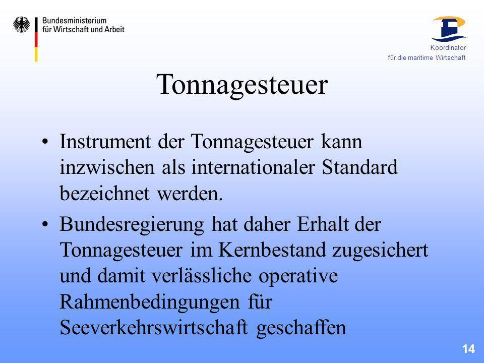 14 Koordinator für die maritime Wirtschaft Tonnagesteuer Instrument der Tonnagesteuer kann inzwischen als internationaler Standard bezeichnet werden.