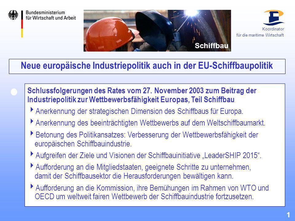 Neue europäische Industriepolitik auch in der EU-Schiffbaupolitik Schlussfolgerungen des Rates vom 27. November 2003 zum Beitrag der Industriepolitik