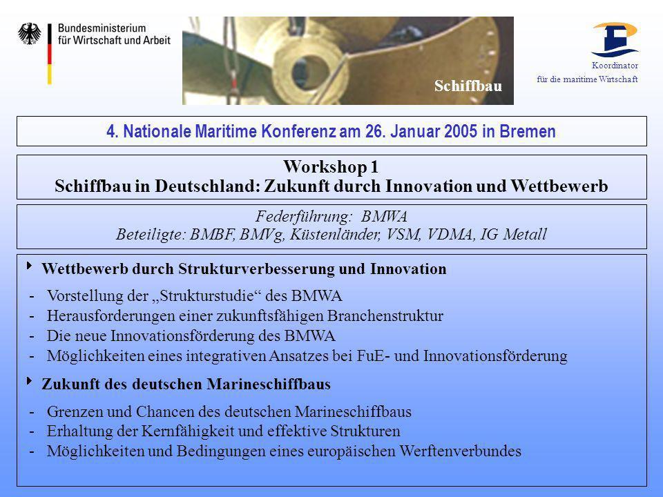 Koordinator für die maritime Wirtschaft Schiffbau 4. Nationale Maritime Konferenz am 26. Januar 2005 in Bremen Workshop 1 Schiffbau in Deutschland: Zu
