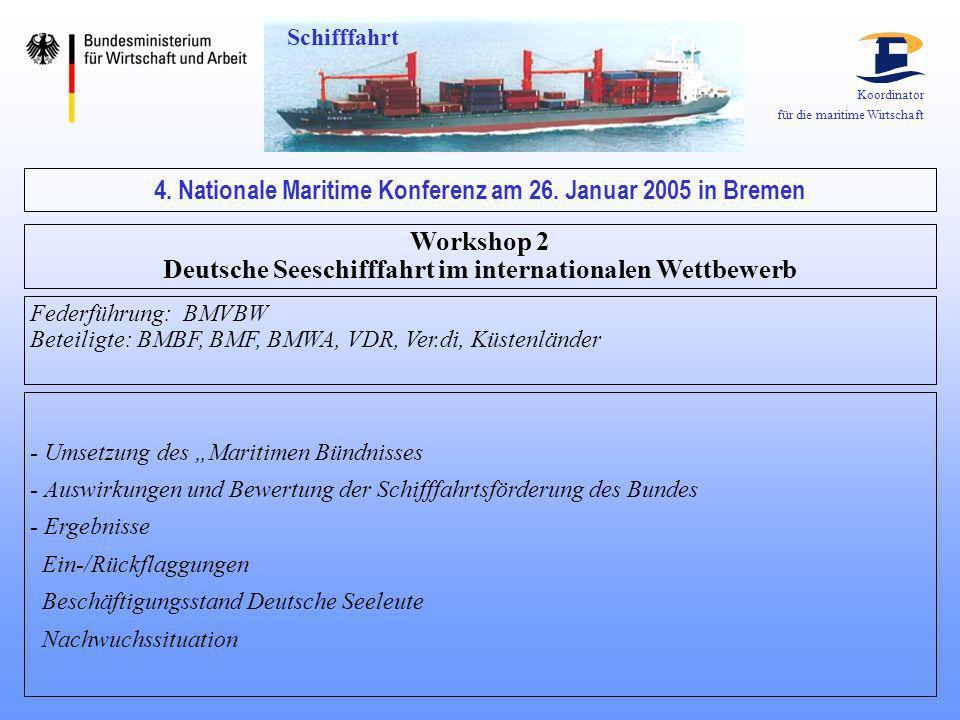 Koordinator für die maritime Wirtschaft 4. Nationale Maritime Konferenz am 26. Januar 2005 in Bremen Workshop 2 Deutsche Seeschifffahrt im internation