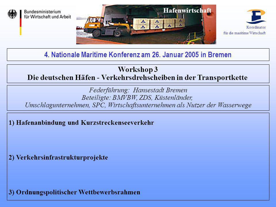 Koordinator für die maritime Wirtschaft 4. Nationale Maritime Konferenz am 26. Januar 2005 in Bremen Workshop 3 Die deutschen Häfen - Verkehrsdrehsche