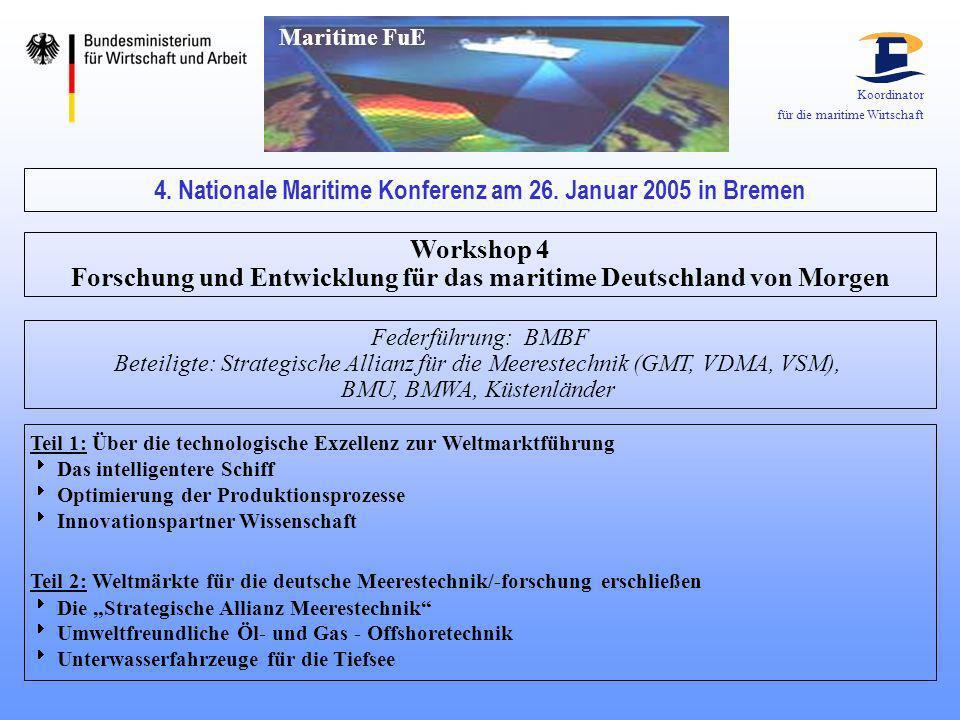 Koordinator für die maritime Wirtschaft 4. Nationale Maritime Konferenz am 26. Januar 2005 in Bremen Workshop 4 Forschung und Entwicklung für das mari