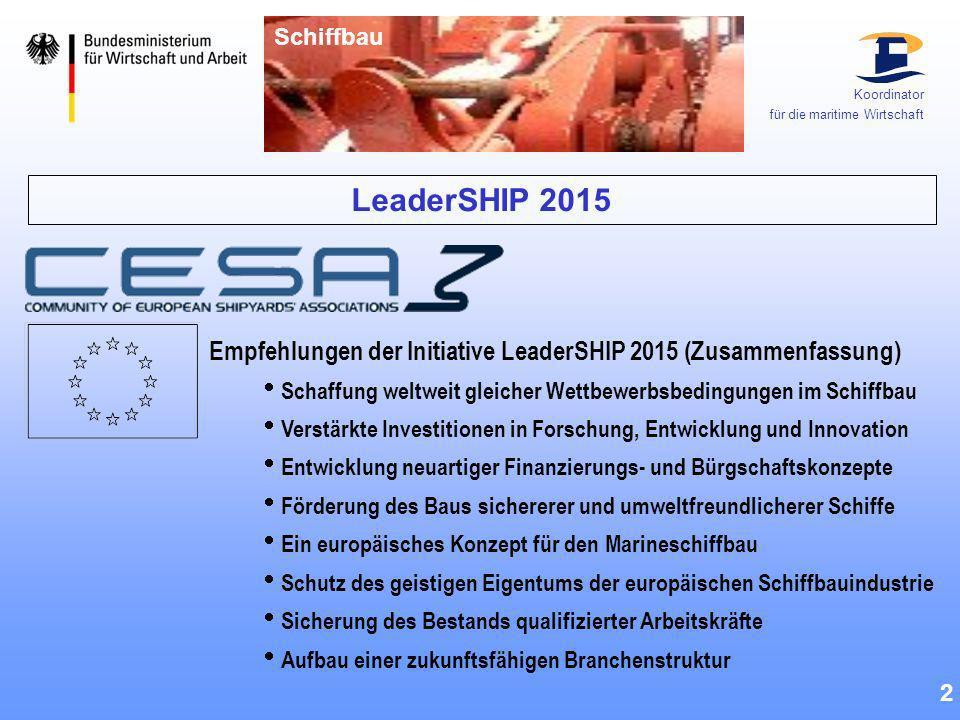 LeaderSHIP 2015 2 Empfehlungen der Initiative LeaderSHIP 2015 (Zusammenfassung) Schaffung weltweit gleicher Wettbewerbsbedingungen im Schiffbau Verstä