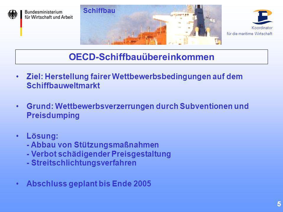 OECD-Schiffbauübereinkommen 5 Ziel: Herstellung fairer Wettbewerbsbedingungen auf dem Schiffbauweltmarkt Grund: Wettbewerbsverzerrungen durch Subventi