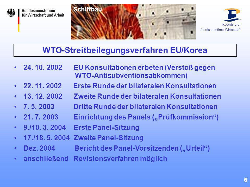 WTO-Streitbeilegungsverfahren EU/Korea 6 24. 10. 2002 EU Konsultationen erbeten (Verstoß gegen WTO-Antisubventionsabkommen) 22. 11. 2002 Erste Runde d