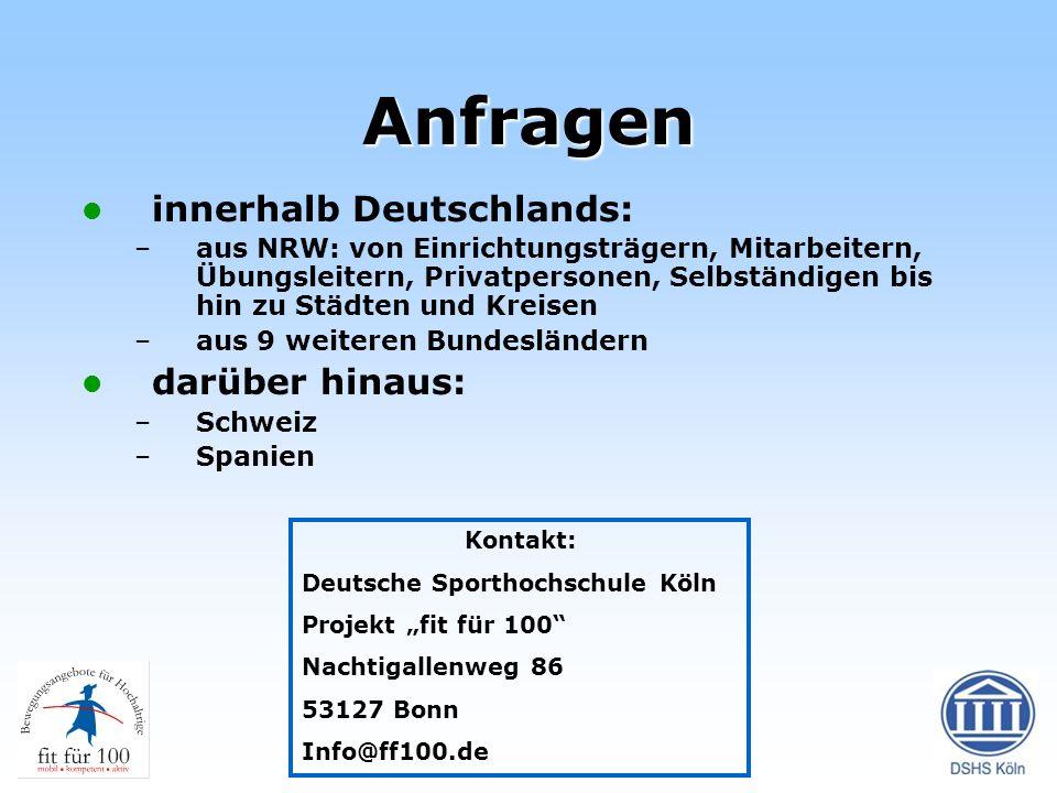 Anfragen innerhalb Deutschlands: –aus NRW: von Einrichtungsträgern, Mitarbeitern, Übungsleitern, Privatpersonen, Selbständigen bis hin zu Städten und