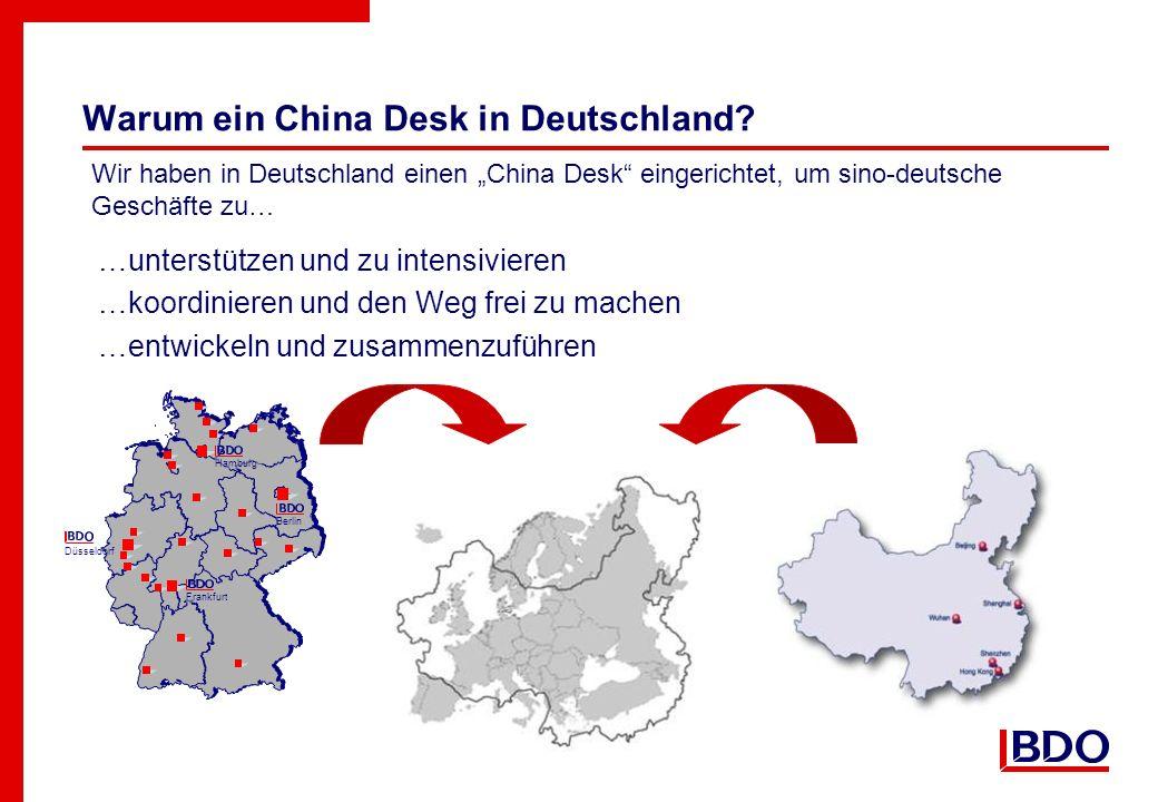 Warum ein China Desk in Deutschland? …unterstützen und zu intensivieren …koordinieren und den Weg frei zu machen …entwickeln und zusammenzuführen Wir
