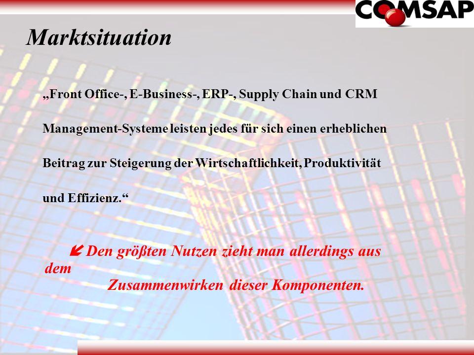 Marktsituation Front Office-, E-Business-, ERP-, Supply Chain und CRM Management-Systeme leisten jedes für sich einen erheblichen Beitrag zur Steigeru