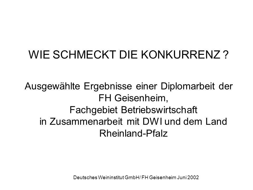 Deutsches Weininstitut GmbH/ FH Geisenheim Juni 2002 WIE SCHMECKT DIE KONKURRENZ ? Ausgewählte Ergebnisse einer Diplomarbeit der FH Geisenheim, Fachge