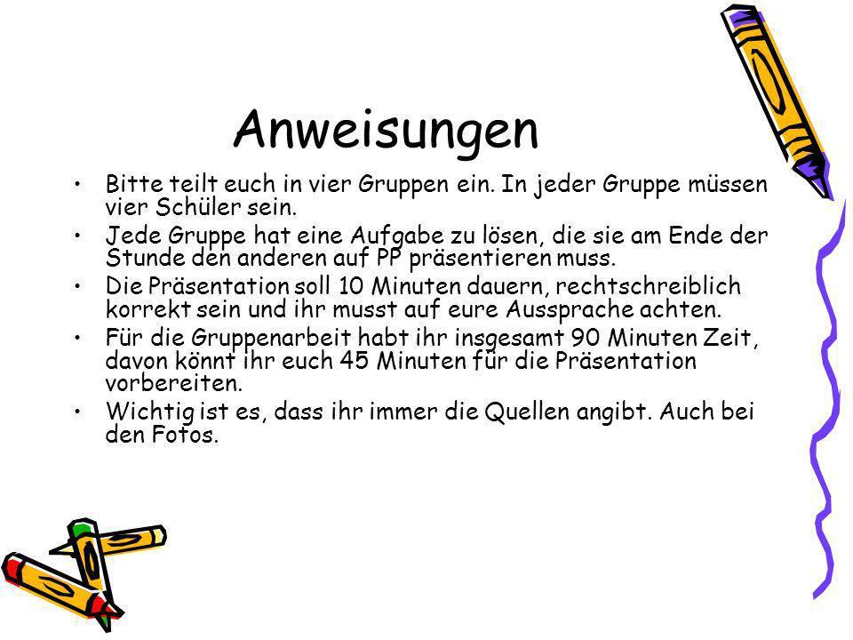 Gruppe 1: Die deutsche Küche Ihr sollt herausfinden: - Was ist das typische deutsche Gericht.