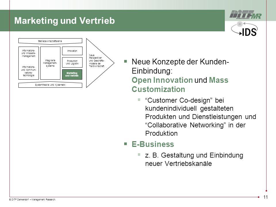 © DITF Denkendorf – Management Research. 11 Marketing und Vertrieb Neue Konzepte der Kunden- Einbindung: Open Innovation und Mass Customization Custom