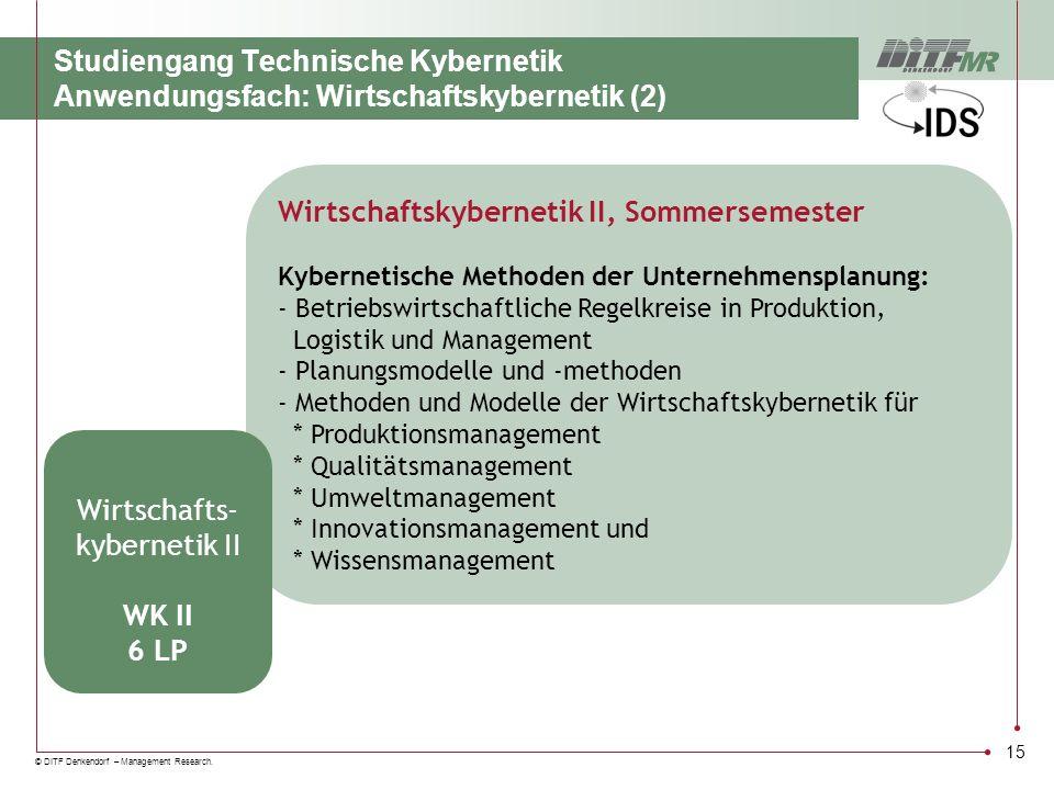 © DITF Denkendorf – Management Research. 15 Wirtschaftskybernetik II, Sommersemester Kybernetische Methoden der Unternehmensplanung: - Betriebswirtsch