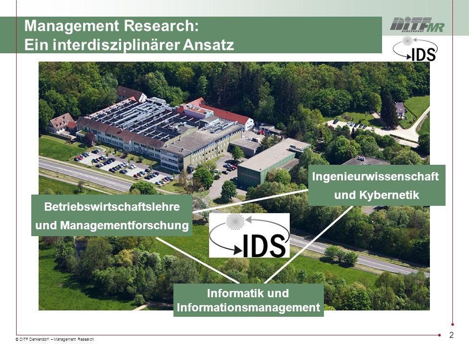 © DITF Denkendorf – Management Research. 2 Management Research: Ein interdisziplinärer Ansatz Betriebswirtschaftslehre und Managementforschung Informa