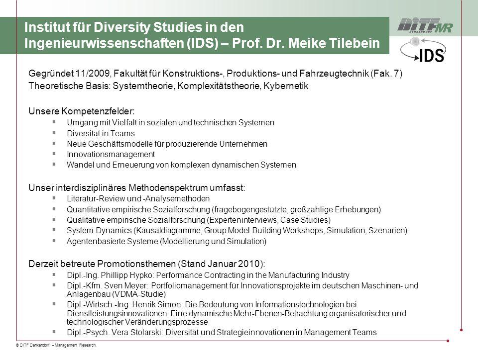 © DITF Denkendorf – Management Research. Institut für Diversity Studies in den Ingenieurwissenschaften (IDS) – Prof. Dr. Meike Tilebein Gegründet 11/2