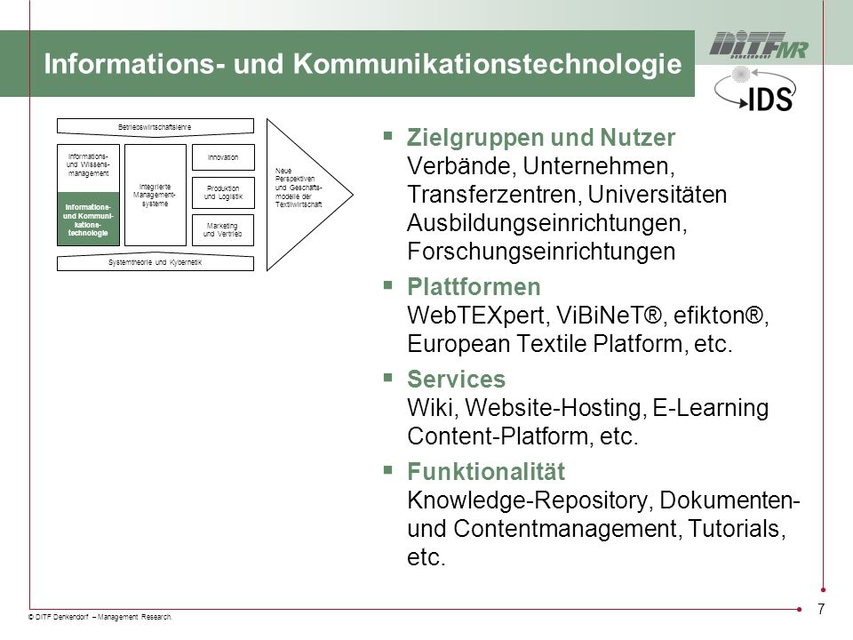 © DITF Denkendorf – Management Research. 7 Informations- und Kommunikationstechnologie Zielgruppen und Nutzer Verbände, Unternehmen, Transferzentren,
