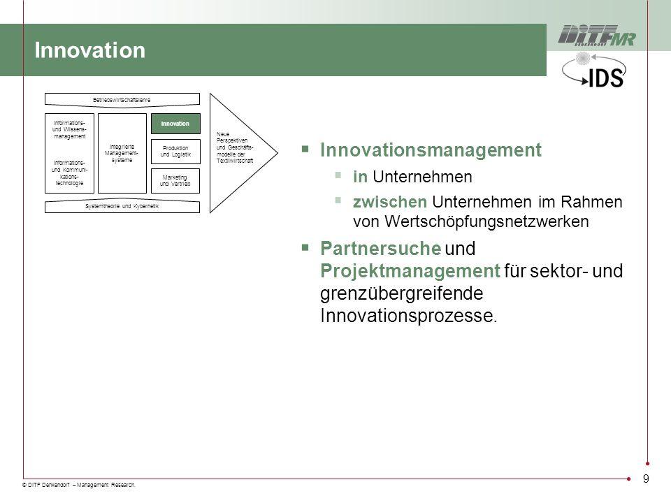 © DITF Denkendorf – Management Research. 9 Innovation Innovationsmanagement in Unternehmen zwischen Unternehmen im Rahmen von Wertschöpfungsnetzwerken