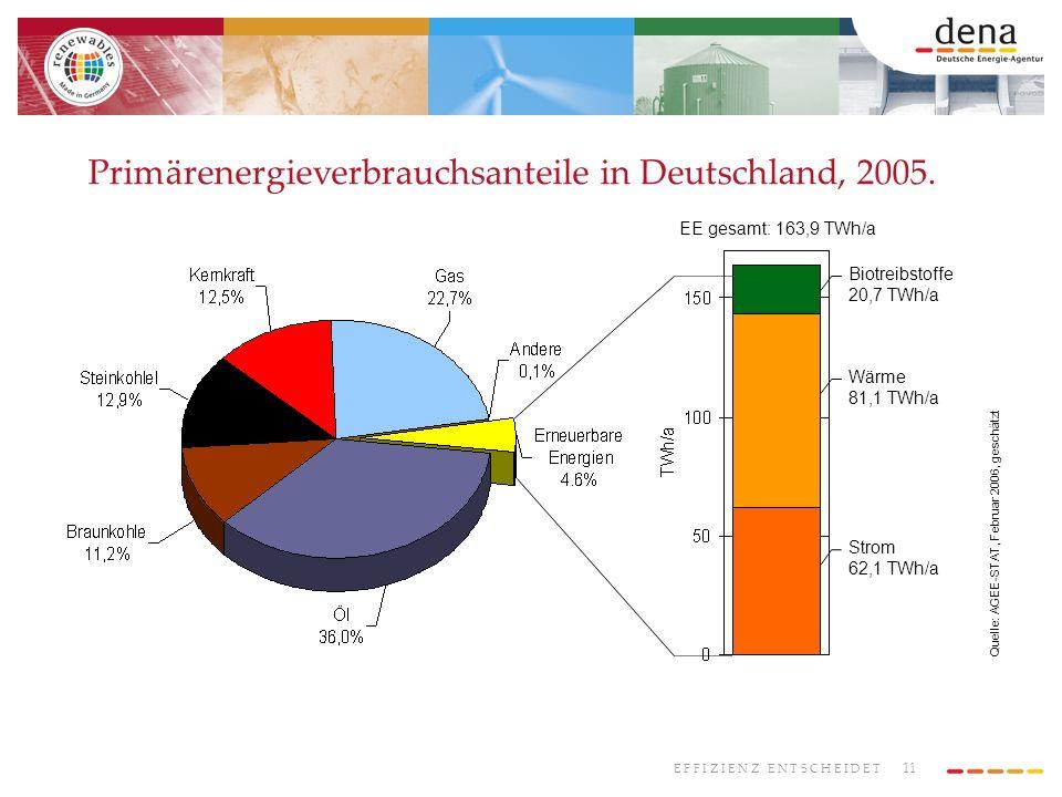 11 E F F I Z I E N Z E N T S C H E I D E T Primärenergieverbrauchsanteile in Deutschland, 2005. Biotreibstoffe 20,7 TWh/a Wärme 81,1 TWh/a Strom 62,1