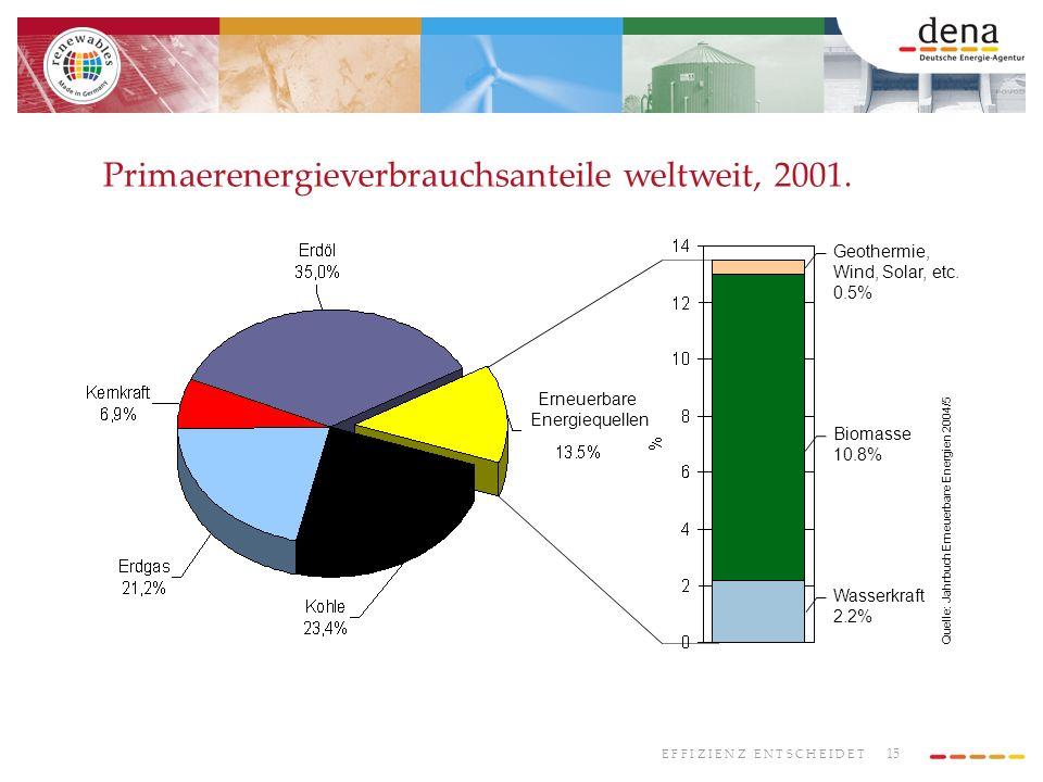15 E F F I Z I E N Z E N T S C H E I D E T Geothermie, Wind, Solar, etc. 0.5% Biomasse 10.8% Wasserkraft 2.2% Quelle: Jahrbuch Erneuerbare Energien 20