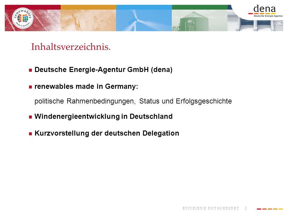 2 E F F I Z I E N Z E N T S C H E I D E T Deutsche Energie-Agentur GmbH (dena) renewables made in Germany: politische Rahmenbedingungen, Status und Erfolgsgeschichte Windenergieentwicklung in Deutschland Kurzvorstellung der deutschen Delegation Inhaltsverzeichnis.