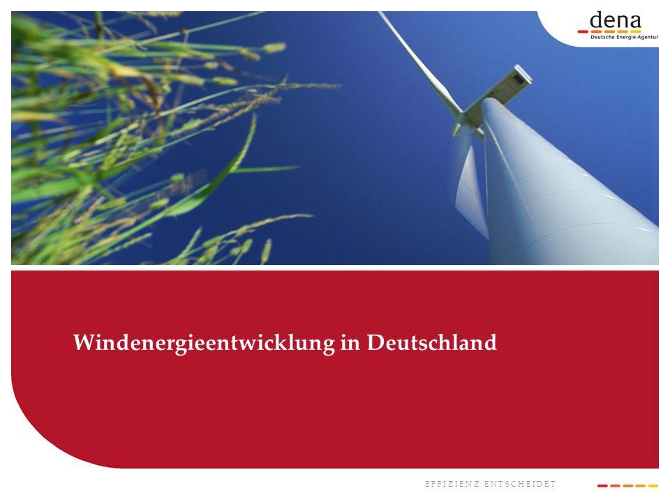 E F F I Z I E N Z E N T S C H E I D E T Windenergieentwicklung in Deutschland