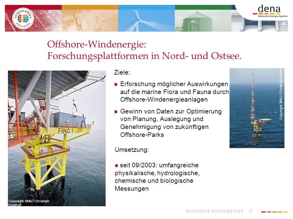 27 E F F I Z I E N Z E N T S C H E I D E T Offshore-Windenergie: Forschungsplattformen in Nord- und Ostsee. Copyright: BMU / Christoph Edelhoff Ziele: