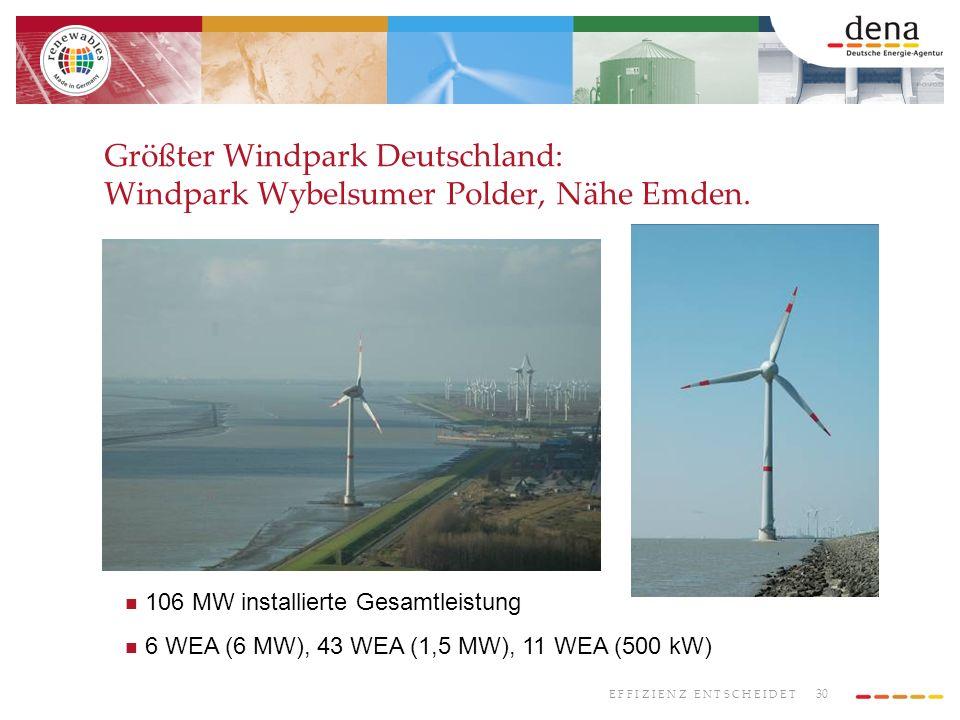 30 E F F I Z I E N Z E N T S C H E I D E T Größter Windpark Deutschland: Windpark Wybelsumer Polder, Nähe Emden. 106 MW installierte Gesamtleistung 6