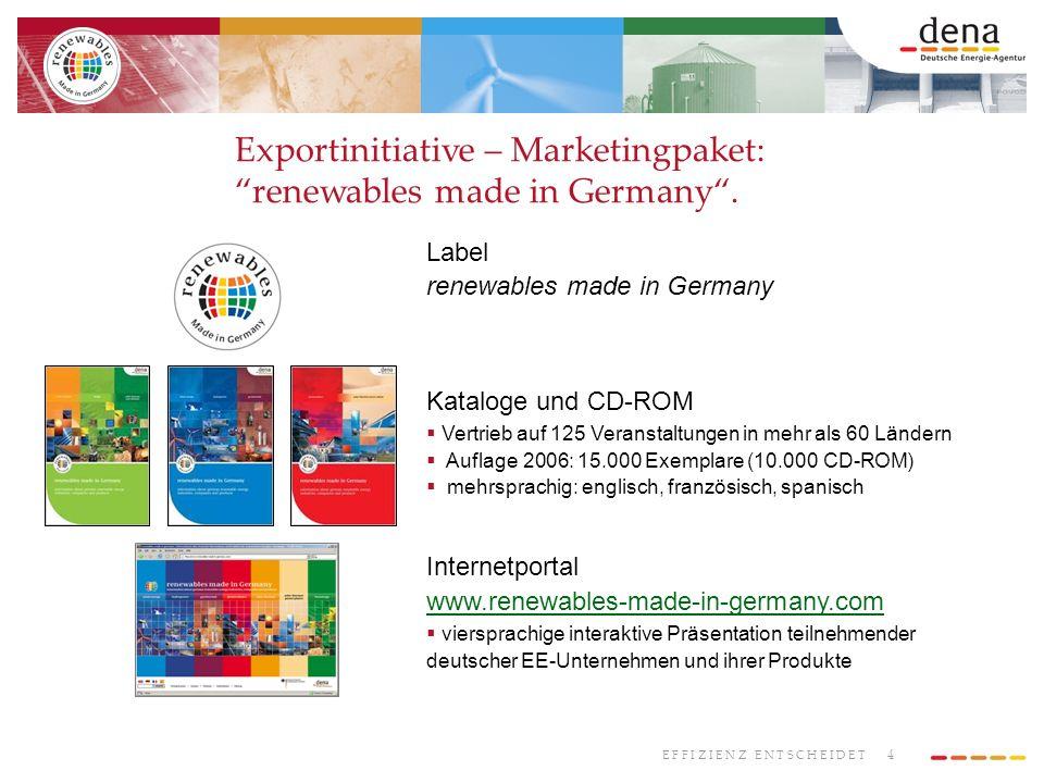 4 E F F I Z I E N Z E N T S C H E I D E T Exportinitiative – Marketingpaket: renewables made in Germany. Label renewables made in Germany Kataloge und