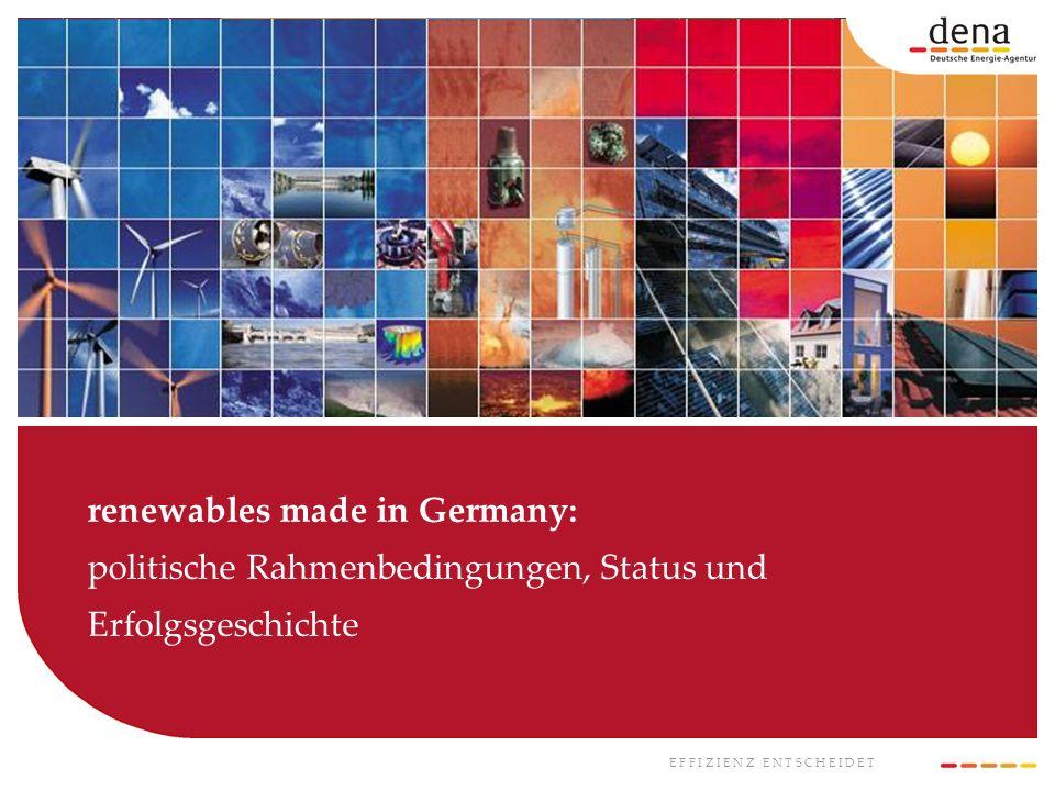 E F F I Z I E N Z E N T S C H E I D E T renewables made in Germany: politische Rahmenbedingungen, Status und Erfolgsgeschichte