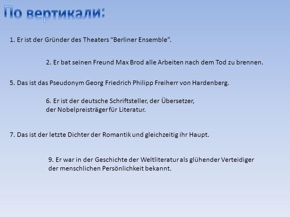 1. Er ist der Gründer des Theaters Berliner Ensemble.