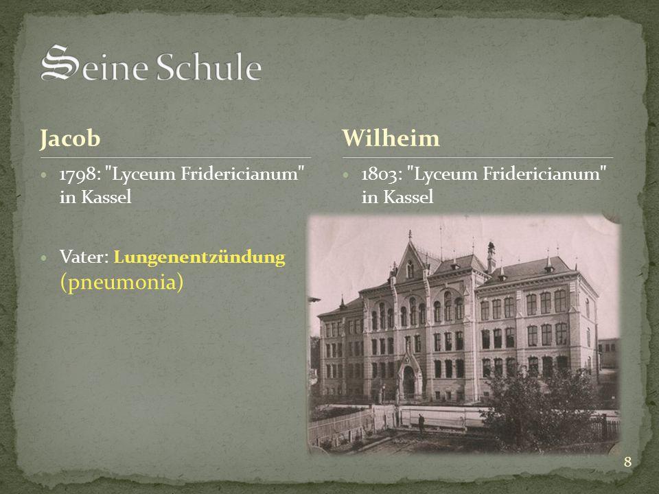 Jacob 1798: Lyceum Fridericianum in Kassel Vater: Lungenentzündung (pneumonia) 1803: Lyceum Fridericianum in Kassel Wilheim 8