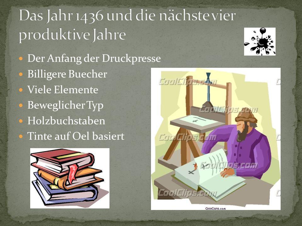Der Anfang der Druckpresse Billigere Buecher Viele Elemente Beweglicher Typ Holzbuchstaben Tinte auf Oel basiert