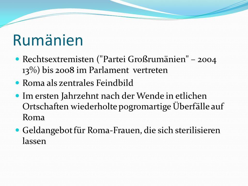 Rumänien Rechtsextremisten ( Partei Großrumänien – 2004 13%) bis 2008 im Parlament vertreten Roma als zentrales Feindbild Im ersten Jahrzehnt nach der Wende in etlichen Ortschaften wiederholte pogromartige Überfälle auf Roma Geldangebot für Roma-Frauen, die sich sterilisieren lassen